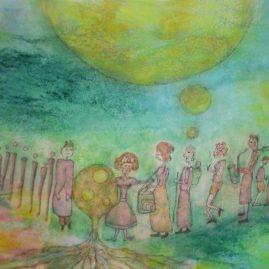Musiker Freunde Baum Sonne Esoterik Wurzeln Gemeinschaft