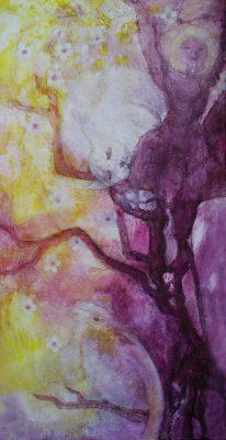 Katze Baum Tänzerin Vogel Kirschblüten Asien Freude Wellnes
