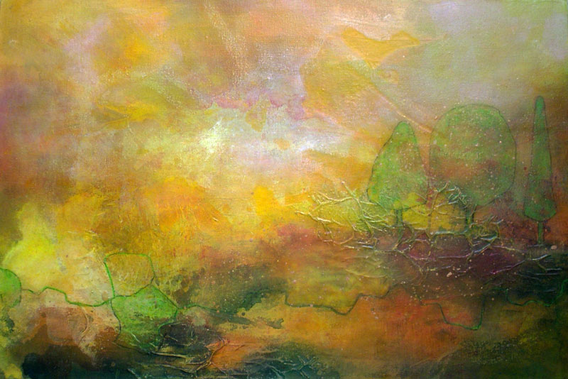 Goldener Herbst Bäume Licht Gelb Oktober Wandern